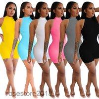 2021 Yeni Kadın Tulum Tasarımcısı Yüksek Boyun Kolsuz Kapalı Omuz Ince Tulum Moda Katı Renk Kolsuz Şort Rahat Seksi Bodysuit