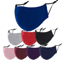 Mascarilla de 3 capas de algodón de 3 capas Máscaras de moda adulto transpirable negro lavable anti-haze PM 2.5 Facenas para hombres Mujeres Audlts