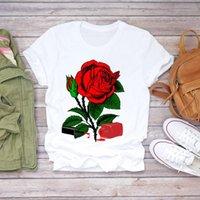 Women 2021 Summer Fingernail Flower Floral Womens Graphic Female Tee T-Shirt Print Lady T-shirts Top T Shirt Ladies Women's