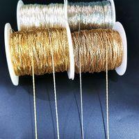 5YARDS / LOT Gold / Bronze Collier Collier Chaîne pour bijoux Constatations Collier DIY Collier Chaînes Matériaux Fournitures à la main 1187 Q2