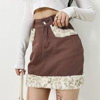 Skirts Fashion Women Mini Denim Skirt Casual High Waist Solid Color Short Leopard Faux Fur Trim Pencil