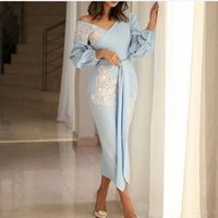 2021 Short Sexy Tea Length Light Sky Blue Prom Dresses Off The Shoulder Evening Dress With Long Sleeves White Lace Appliques Party Gowns