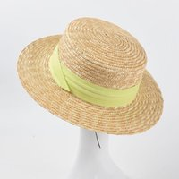Chapeaux de soleil Blé Natural Bheat Paille Top Top Chapeau Femmes Été Plage Plage Plat Cap Cap Tapis De Vacances Somberos de Si large
