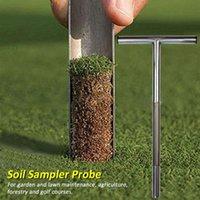 Golf Training AIDS Wald Edelstahl Boden Sampler Sonde Earth Turf Sampling Manuelle Rasenwartung Multifunktions T-Style Griff