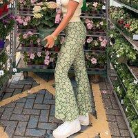 Women's Pants & Capris Women Vintage Floral Printed High Waist Long Flare Trousers Casual Elegant Slim Fashion Chic 2021 Autumn Female