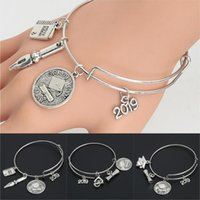 1pc 2021 Alloy Metal Graduation Day Gift Bangle Bracelet For Student Notebook Pen Diploma Charms School Graduat Jewelry