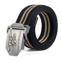 Toile, ceinture pour hommes Navy Sceller Métal Filgle Boucle lisse confortable long Longueur longue taille noire Taille de sport de plein air Accessoires de sport