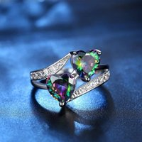 Cluster Rings Women's Tricolor Fashion Zircon Couple Double Heart Engagement Ring Charm Women Jewelry Girlfriend Birthday Gift