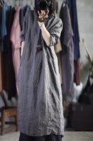 Robes décontractées Vintage O Col Broderie Robe pour le linge d'automne Femme Plissé Couleur solide en vrac à manches longues rétro Vestido Longo