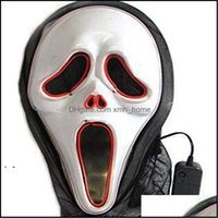 Masks Festive Supplies Home & Gardenled Luminous Screaming Ghost El Wired Glowing Skl For Halloween Horror Party Costumes Aessories Creative