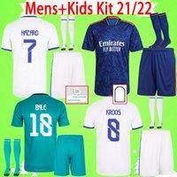 MENS + Çocuklar Kiti ile Çorap Futbol Formaları 2021 2022 Gerçek Madrid Erkek Suit Futbol Gömlek Çocuk 21 22 Ev Uzakta Üçüncü Benzema Tehlike Sergio Ramos Yetişkin Set Üniformaları