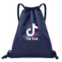 Детская сумка Tiktok DrawString Bag Tiktok Рюкзак Pocket Веревка Плечи Покупки Рюкзак Обучение Мальчики и Девушки Спортивные Сумки G4T8W81