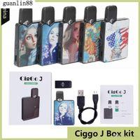 Autêntico Ciggo J Box Pod Kit 350Mah Portable Vape Mod Starter Kit com 0.6ml Cerâmica Cartucho de Bobina Compatível JBoT Bateria DHL GRÁTIS