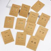 Constellations Earrings 12 Zodiac Stud Earring with Gift card Trendy Jewelry for Men Women Lovers