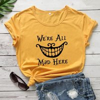 Women's T-Shirt Halloween Cotton We're All Mad Here World Tshirt Shirts For Women Y2k Aesthetic 2021 Fashion Clothing