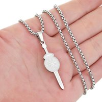 Pendant Necklaces Viking Sword Shaped Necklace For Women Men Stainless Steel Cross Northern Europe Amulet Charm Chain Choker Jewelry Gift
