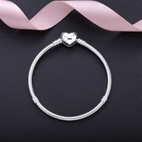 925 Sterling Silver Heart snap Charms Bracelet with box Fit European Beads Jewelry Bangle Real for bracelets Women trinkets crosses love