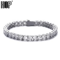 3 4 5 mm Iced Out 1 Row Bling Cubic Zircon Tennis Chain Bracelet For Women Men Gold Color Hip Hop Charm Jewelry