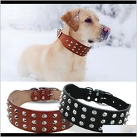 Leashes Supplies Home & Gardencool Rivets Studded Genuine Leather Pet Dog Collars For Small Medium Large Dogs Black Brown Boxer Pitbull Xs S