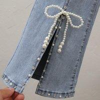 Frauen Jeans Mädchen Vintage Fairy Süße Hose Hohe Taille Split Denim Hosen Frauen Elegante Chic Perlen Bowknot Boot Cut