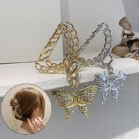Fashion Vintage Long Tassel Metal Hair Claws Gold Silver Color Butterfly Pendant Crab Clips for women Hair Accessories Gift