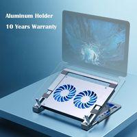 Berçário do suporte do portátil para o suporte ajustável do caderno do alumínio do Air Pro Air Pro Macbook com almofadas de ventilador de refrigeração dupla