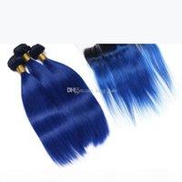 Ombre color 1b blaue menschliche haar schuss mit spitze frontal 100 jungfrau menschliches ombre haar 3bundles mit ohr zu ohr frontal