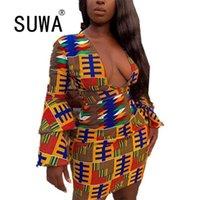 Vestido Africano Aesthético 90 para Mulheres Roupas Vintage Impressão V Pescoço Manga Longa Mini Bodycon Sexy Party E Vestidos De Noiva 210525