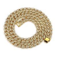 HIPHOP rap gold chains for men accessories full diamond Cuban silver necklace Double row hip hop Cuba chain hx