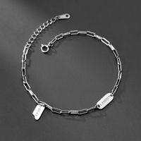 Modian Otantik 925 Ayar Gümüş Moda Kadınlar Için Basit Yazı Şanslı Bilezik Ayarlanabilir Geometrik Bileklik Güzel Takı