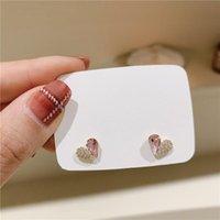 Korean Shiny Crystal Fresh Sweet Lovely Stud Earrings Fashion Contracted Heart Small Joker Women Jewelry