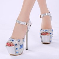 The South Korean Version Of Super High Heel Sandals, Female 16cm Heels Club, Fish-lip And Water Drill Shoe Wedding Sandals