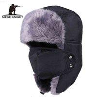 Megge Knight Marque Chapeaux de bombardiers russes Hommes chauds Hommes et femmes Unisexe Casquettes Capuchon avec masque Camocap épais Équitation