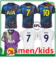 21 22 Kane Son Bergwijn Ndombele Soccer Jerseys 2021 2022 토트넘 루카스 델리 저지 축구 셔츠 Lo Celso Bale 성인 남성 + 키트 키트