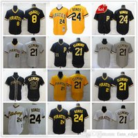 2022 Baseball 21 Roberto Clemente Jerseys 8 Willie Stargell Retro Azul Amarelo 24 Barry Bonds Jersey Top Qualidade Costura Cinza Estrada Branco Casa Preto Alternate