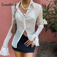 Женские блузки рубашки Послаусы Винтажные белые складки Симпатичные Y2K Женщины Элегантные моды вспыхиваемые рукавные верхние вершины Верхний Усюда сквозь сексуальную сетку