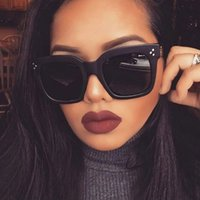 Fashion Women Luxury Brand Designer PC Square Sunglasses Ladies Vintage Oversized Sun Glasses Female Big Frame Uv400 Shades Black