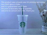 Starbucks 24oz / 710 мл пластиковый тумблер многоразовый многоразовый прозрачный питьевой плоской нижней чашкой колонна фигура крышка соломенная кружка Бардьян DHL УФ-машина не исчезает