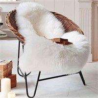 Soft Artificial Sheepskin Rug Chair Cover Bedroom Mat Wool Warm Hairy Anti-Slip Carpet Pad Seat Textil Fur Rugs 210831