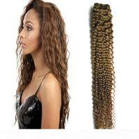 # 8 밝은 갈색 처리되지 않은 버진 브라질 곱슬 버진 인간의 머리카락 직조 100g issage kinky 곱슬 인간의 머리카락 묶음 번들 1pcs