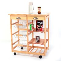 Solid wood shelf dining room multifunctional kitchen cart 2 Drawer removable storage rack with rolling wheel side table simple car