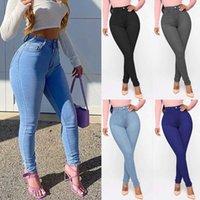 Women's Jeans High Waist Skinny Denim Pants 2021 Autumn Winter Blue Retro Washed Elastic Slim Pencil Trousers A232