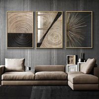 Paintings Wall Prints Abstract Retro Black Gold Wood Art Posters Tree Ring Radial Lines Nordic Canvas Picture Home Decor