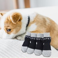 4pcs Cute Puppy Warm Indoor Wear Slip On Protector Dog Knit Socks Pet Dogs Cotton Anti-Slip Cat Shoes Apparel