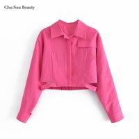 Chaquetas de mujer Chu Sau Beauty 2021 Fashion Rose Red Short Abrigo corto, Top de la cintura alta de manga larga de la solapa, diseño de la cintura elegante
