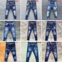 Mens jeans denim jean noir déchiré pantalon version maigre couleur italienne style vélo moto roche pantalon réveil