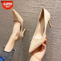 [in stock]88701 pointed high heels design sense niche autumn and winter 2020 suede shallow mouth plus velvet single shoes female stile #lF8f