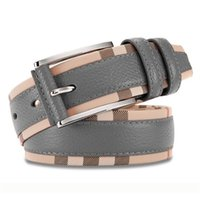 New Style Luxury Genuine Leather Belt for Men and Women Fashion Smooth Pin Buckle Plaid Belt Designer Belt High Quality