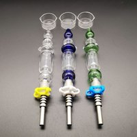 10mm 14mm Joint Mini Nector Collector Kits Blue Green Clear With Titanium Nail Tips Dab Oil Straw Mini Smoking Glass Smoking Pipes Bubble Wrap