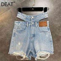 ديت الصيف أزياء المرأة الملابس عالية الخصر الجوف خارج شرط الدنيم الضوء الأزرق السراويل الإناث S WS02405L 210714